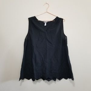 Isabel maternity black embroidered tank top